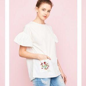Ivory Embroider ruffle sleeves tunic 🌻🌻